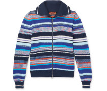 Slim-fit Striped Knitted Cotton Zip-up Cardigan