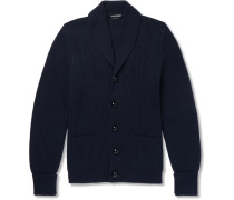 Shawl-collar Ribbed Wool Cardigan