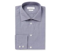 Blue Cutaway Collar Checked Cotton Shirt