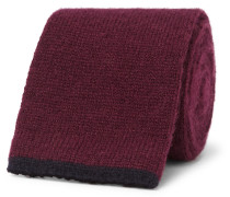 6.5cm Knitted Cashmere Tie - Burgundy