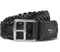 4cm Black Woven Leather Belt - Black