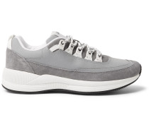 Techno Reflective-panelled Suede Sneakers - Gray