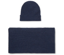 Ribbed Cashmere Beanie And Scarf Set - Blue