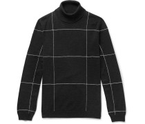 Slim-fit Checked Embroidered Merino Wool Rollneck Sweater