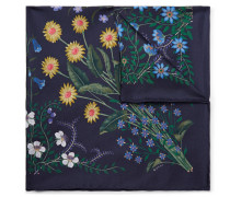 Floral-print Silk-twill Pocket Square - Navy