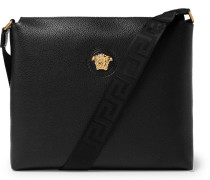 Logo-detailed Full-grain Leather Messenger Bag - Black