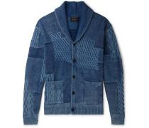 Patchwork Shawl-Collar Cotton Cardigan