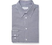 Quevedo Slim-fit Houndstooth Brushed-cotton Shirt - Navy
