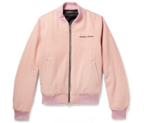 Embroidered Wool Bomber Jacket - Pink