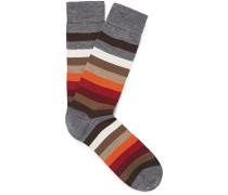 Striped Merino Wool-blend Socks