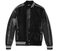 Full-grain Leather-trimmed Moleskin Bomber Jacket