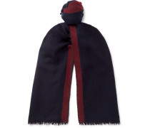 Striped Cashmere And Silk-blend Scarf - Navy
