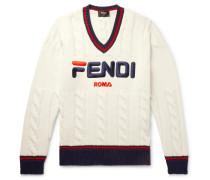 Slim-fit Logo-appliquéd Cable-knit Sweater - White