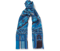 Paisley-print Modal, Wool, Silk And Cashmere-blend Scarf