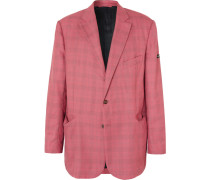 Red Checked Virgin Wool And Silk-blend Blazer