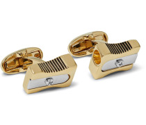 Pencil Sharpener Gold And Silver-tone Cufflinks