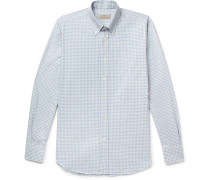 Button-down Collar Gingham Cotton Shirt - Light blue