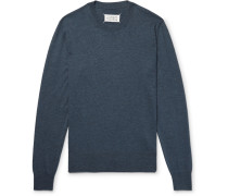 Slim-fit Suede Elbow-patch Cotton And Wool-blend Sweater - Blue