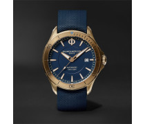 Clifton Club 42mm Automatic Bronze And Rubber Watch - Blue