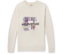 Printed Loopback Cotton-jersey Sweatshirt - Neutral