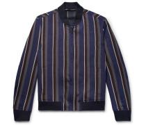 Striped Linen-blend Bomber Jacket