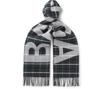 Fringed Logo-jacquard Checked Wool Scarf - Green