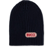 Logo-appliquéd Ribbed Wool Beanie - Navy