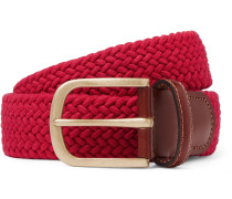 3.5cm Red Leather-Trimmed Woven Stretch-Cotton Belt