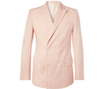 Pink Slim-fit Double-breasted Striped Cotton Blazer