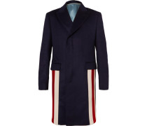 Stripe-trimmed Cashmere And Wool-blend Coat - Navy