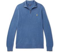 Waffle-knit Cotton Half-zip Sweater