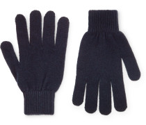 Cashmere And Merino Wool-blend Gloves - Navy