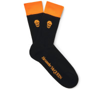 Skull-intarsia Ribbed Cotton-blend Socks - Black
