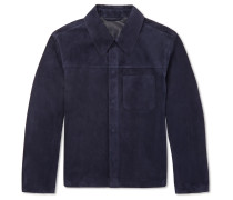 Suede Shirt Jacket - Navy