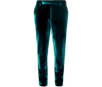 Turquoise Slim-fit Velvet Suit Trousers