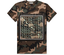 Logo and Camouflage-Print Cotton-Jersey T-Shirt