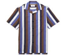 Camp-Collar Striped Cotton-Blend Poplin Shirt