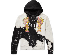 Logo-Embroidered Printed Loopback Cotton-Jersey Zip-Up Hoodie