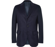 Navy Double-faced Wool, Silk And Cashmere-blend Blazer