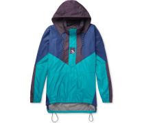 Colour-block Ripstop Hooded Half-zip Jacket