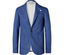 Navy Brookes Slim-Fit Unstructured Linen Blazer