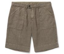 Wide-Leg Striped Linen Shorts