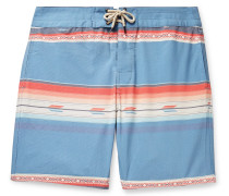 Mid-Length Striped Swim Shorts