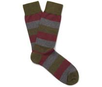 Miller Striped Stretch Cotton-blend Socks - Army green