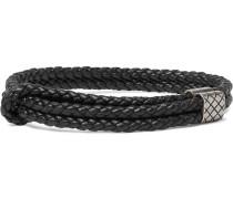 Intrecciato Leather And Oxidised Silver Bracelet