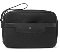 Nightflight Leather-trimmed Nylon Pouch