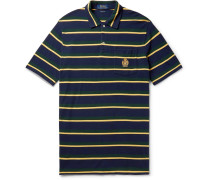 Logo-embroidered Striped Cotton-piqué Polo Shirt - Midnight blue