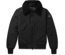 Bromley Shearling-trimmed Shell Down Bomber Jacket - Black