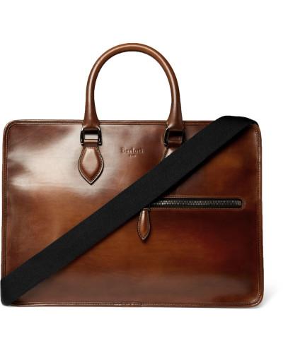 Un Jour Leather Briefcase - Brown