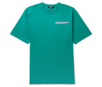 Oversized Embroidered Distressed Cotton-jersey T-shirt - Turquoise